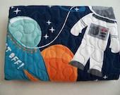 Baby Quilt Modern Crib Size Quilt Blast Off Space Baby Quilt Home Decor Bedding Cotton Childrens Quilt Handmade