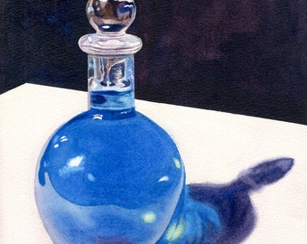 Blue Bottle Original Watercolor Painting by Cathy Hillegas, 11x14, glass bottle watercolor painting, still life painting, blue yellow art