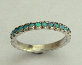 Opal gemstones ring, Gemstones Band, sterling silver band, thin band, opals band, birthstones ring. wedding band - Eternity ring R0911X