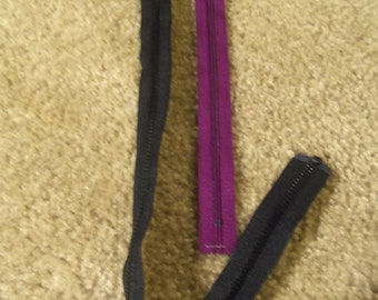 Nine 20 Inch Black Zippers and Nine 10.5 Inch Maroon Zipper lot