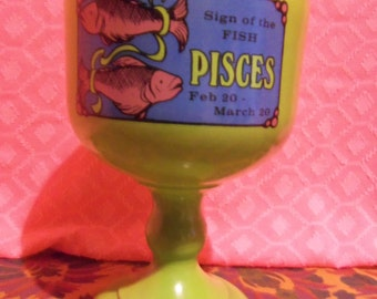 Vintage 1970's Green Pisces  8 Inch Goblet Retro Glass