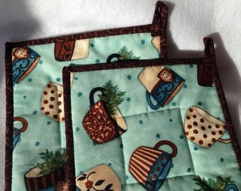 Quilted Tea Cup Potholders Hot Pads