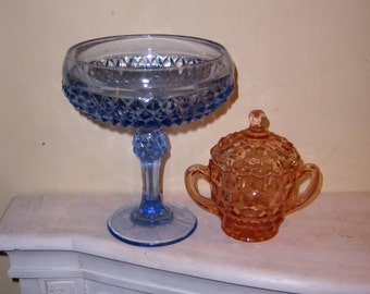 Indiana Diamond Point Pattern GLASS Ice Blue Comport Pedestal Bowl Pink Covered Sugar Bowl Vintage Lot