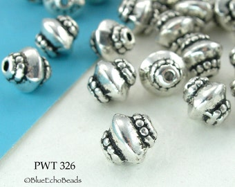 7mm Small Spacer Beads Pewter Top with End Bands, Antique Silver (PWT 326) 20 pcs BlueEchoBeads