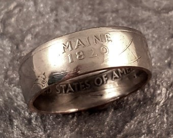 Maine Coin Ring YOUR SIZE 5 to 10.5 State Quarter MR0705-Tstme