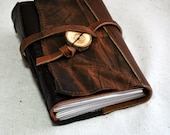 Small Rustic Leather Journal with Recycled Paper