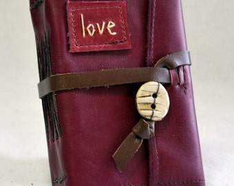 Small Love Leather Journal with Recycled Paper