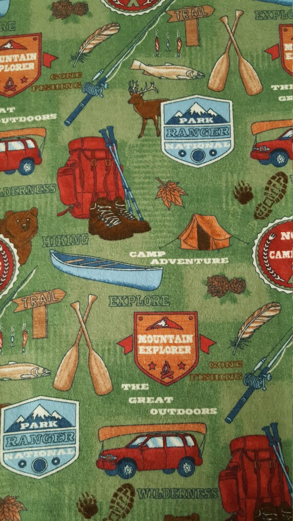 Cotton Flannel Fabric MOUNTAIN EXPLORER Wilderness Camp 1/2 Yard Canoe bear hiking boots tent crafts Fun Fabric for Creative Genius Projects