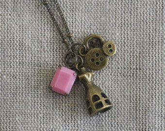 Bronze Seamstress Charm Necklace