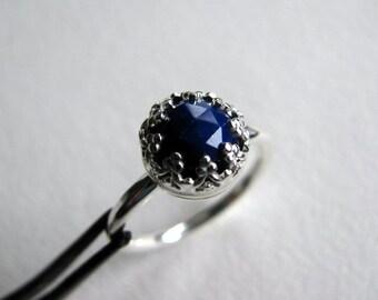 Lapis Lazuli Sterling Silver Ring, Dark Blue Lapis Handmade Ring Size 7.5