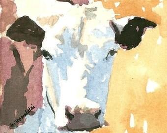 Cow painting Cow original watercolor painting cow art cow decor Miniature cow art Cow picture