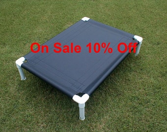 SALE Dog Bed Black Canvas, PVC Cot, 32x44 Elevated Bed Cot Outside Bed, Pet Bed, Cat Bed, Medium Dog Bed, Large Dog Bed Up To 130 Pounds.