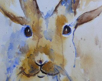 Brown Rabbit, original watercolor painting 9x12 rabbit bunny