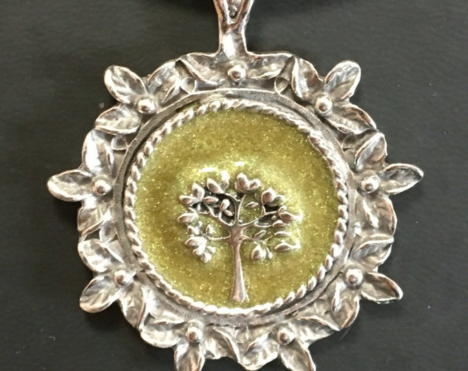 Tree of life pendant on leather necklace. Handmade in Australia. Pewter and Resin