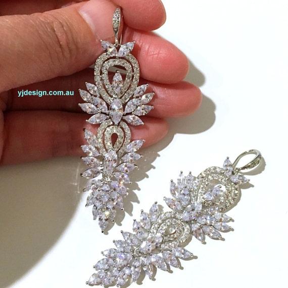 Hollywood Glamour Bridal Earrings, Statement Wedding Earrings, Cz Bridal Jewelry, Chandelier Earrings, Crystal Wedding Jewelry, SAMURAI