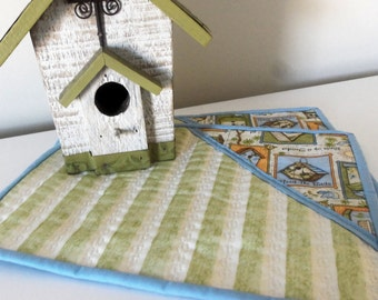 Mug Rugs set of 2/ Birdhouse Quilted Mug Rugs/Mini Placemats/ Bird Mug Rugs/ Spring Mug Rug/ Large Coasters