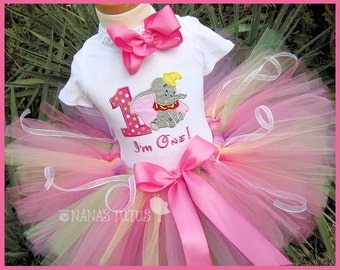 1yr, Ready to Ship, Dumbo with Number One, 1st Birthday, Party Outfit,Tutu Set, Birthday Tutu Set,Theme Party