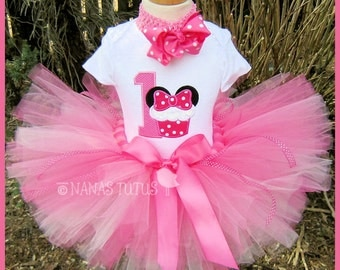 Cupcake  Minnie Party Outfit ,Minnie with number,Theme Party,Minnie Birthday,Personalized, Birthday Tutu Set in Sizes 1yr thru 5yrs
