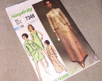 Simplicity 7348 Sheath Dress Vintage 1960s Sewing Pattern Misses Size 16 Bust 36 UNCUT