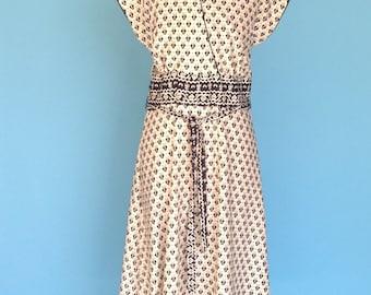70s Dress Black and White Print Summer Sleeveless S