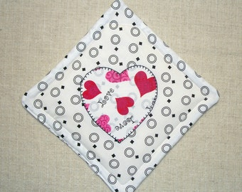 Valentine Heart Pot Holder, Applique Heart, Single Hot Pad, Insulated Trivet, For the Cook, For the Kitchen, Made in the USA