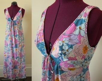 60s floral nightgown with sexy keyhole deep v neckline