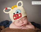 Baby Cow Hat - MULTIPLE sizes - Newborn Photo Prop - Farm Hat - Spring Hat - 3 month cow hat - Photo prop