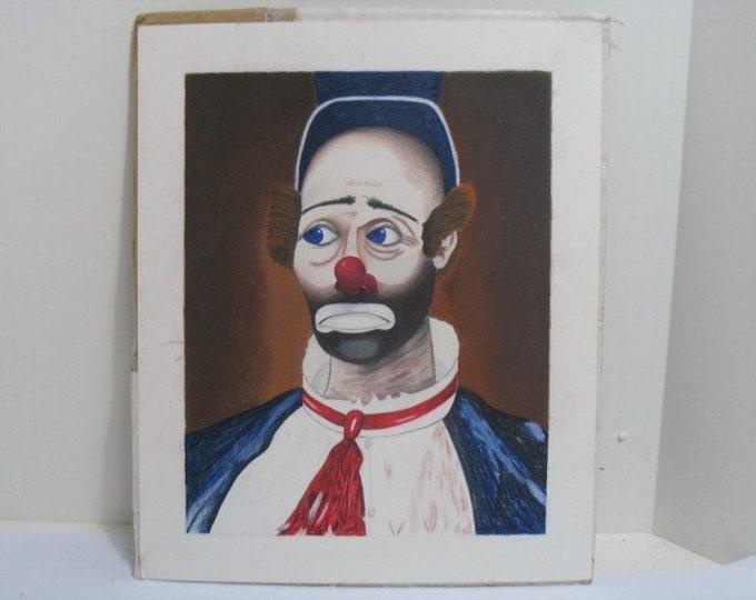 Vintage Red Skelton Joey The Clown Original Art Work, Pastel Chalk Art Drawing