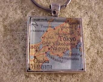 Atlas Map Key Chain / Tokyo Japan Key Ring / Map Key Ring