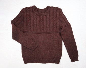 Cable Knit Crew Neck  Mens Sweater Pullover - Baby Alpaca Yarn - Shipped in 7 days