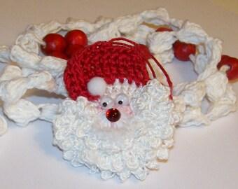 Mini Santa Ornament and Popcorn Garland