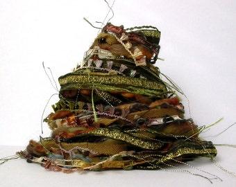 olive grove fiber effects™  12yds specialty ribbon handspun wool art yarn bundle embellishment fibres . olive moss green gold brown