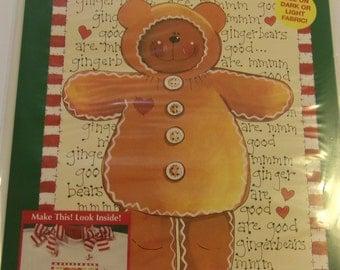 1995 Plaid Enterprises Inc. GINGER BEAR Christmas Iron-On Transfer