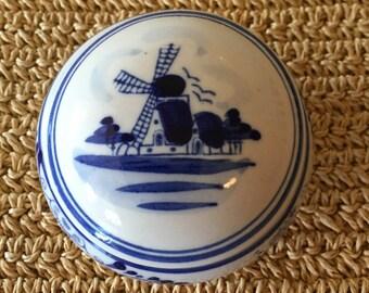 Blue Windmill Trinket Box