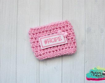 Crochet Coffee Cozy {#Hope} pink breast cancer survivors awareness Coffee cozie sleeve, stocking stuffer, tea for ceramic plastic cups