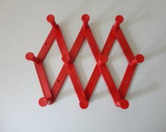 VINTAGE red plastic EXPANDABLE RACK with 10 hooks