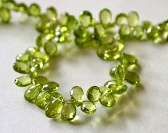 GREEN PERIDOT Gemstone, Semi Precious Gemstone Bead. Faceted Pear Briolettes. 6 - 7mm.  Pairs or NonMatching 1 to 10 Briolettes  (fper2).