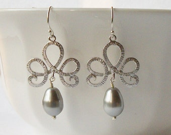 Grey Pearl Silver Earrings
