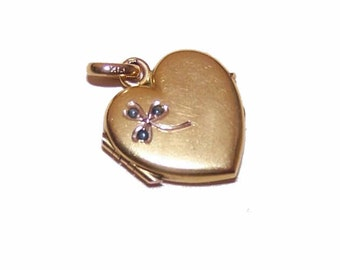 Art Nouveau FRENCH FIX Gold Filled Heart Locket with Shamrock