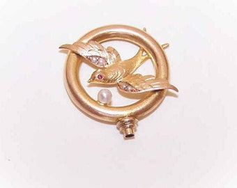 ANTIQUE EDWARDIAN,Gold Filled,Natural Pearl,Garnet,Hat Pin,Hat Pin Top,Swallow in Flight,Hirondelle,French,Bird in Flight