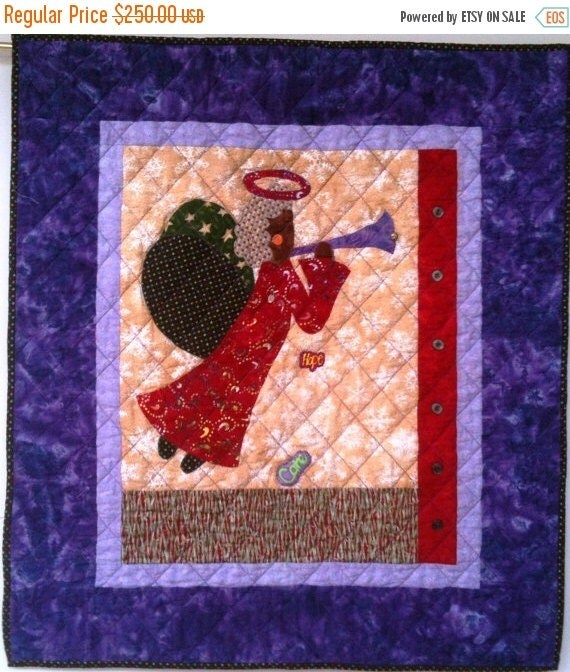 Fall Sale I Believe in Angels Number 18 art quilt wallhanging
