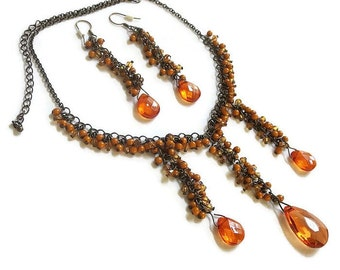 Bib Necklace and Earrings Set Vintage Orange Faux Crystals and Dangle Beads