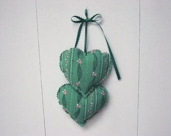Green Heart Hangings, Valentine Hearts Wall hanging, Fabric Hearts Wall Hanging,