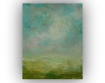 Small Abstract Landscape- Blue and Green Field Sky and Clouds Oil Painting- 11 x 14 Original Palette Knife Art on Canvas