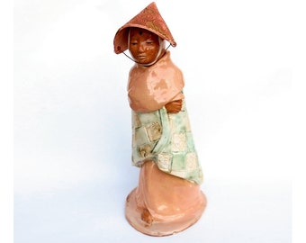 Ceramic Buddhist Monk or Nun Jar Art Figurative Sculpture In Walking Meditation Female Buddha With Hat Quan Yin Kwan Yin