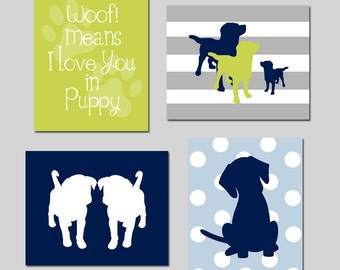 Puppy Nursery Art Dog Nursery Decor - Woof Means I Love You In Puppy Quote, Puppy Silhouettes - Set of Four 8x10 Prints - CHOOSE YOUR COLORS