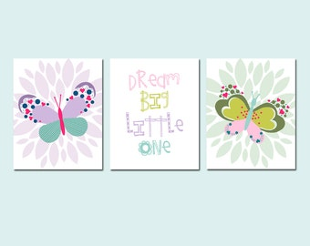 BUTTERFLY Nursery Art DREAM Big Little One - Butterfly Flower NURSERY Decor Girl Nursery Wall Art - Set of 3 - Choose Your Colors