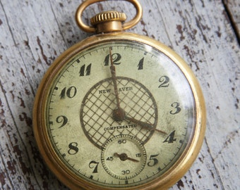 Vintage Pocket Watch -NEW HAVEN Compensated- Non-Working- Dollar Watch- No Back