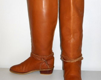 Womens 6.5 M Riding Boots Tall Tan Brown Fashion Shoes Vintage Indie Folk Boho Western
