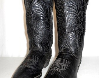 Vintage Distressed Acme Black Leather Womens Cowboy Boots size 5.5 M Cowgirl